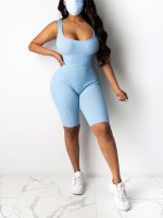 Curve Smoothing Light Blue U Collar Wide Straps Backless Romper