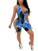 Splendid Blue Cross Strap Jumpsuit Hollow Open Back Good Elasticity