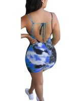 Casual Blue Sling Backless Tie-Dye Print Romper For Vacation
