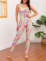 Marvelous Large Size Colorblock Jumpsuit Full Length For Streetshots