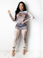 White Long Sleeve Money Print Tight Jumpsuit Form Fitting