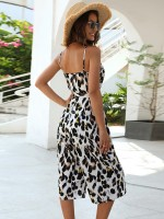 Glorious Leopard Print Rompers Backless Sling Forward Women