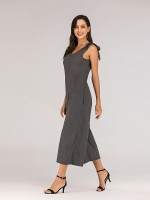 Supper Fashion Gray Wide Leg Rompers Backless Lace-Up