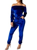 Luscious Deep Blue Jumpsuit Long Sleeve Elastic Ankle Workout