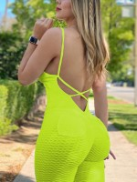 Cheeky Green Sports Jumpsuit Jacquard Cross Straps Fabulous Fit