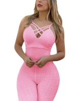 Intrigued Pink Open Back Criss-Cross Yoga Jumpsuit Women Outfits