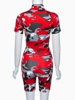 Gorgeous Red Short Sleeves Zipper Sweatsuit Bodycon Fashion For Women
