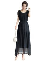 Brilliant Black High Waist Maxi Dress Short Sleeves Smooth