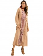Elegance Khaki Round Neck National Printing Maxi Dress
