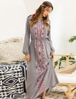 Relaxed Gray Long Sleeves Ethnic Print Maxi Dress Comfort