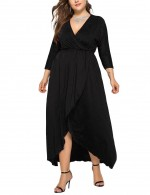 Kinetic Black Plus Size Side Slit Deep-V Neck Dress Regular Fit