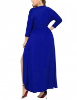 Holiday Royal Blue Asymmetrical Hem Big Size Slit Dress Romance Time