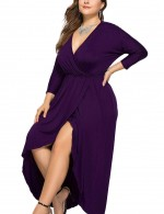 Unique Purple Long Sleeves Large Size Ruched Dress Tailored Quality