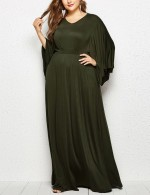 Remarkable Army Green Cape Sleeves V-Neck Plus Size Dress Chic Trend