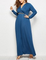Appealing Blue Solid Color Large Size Floor-Length Dress Feminine