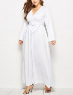 Slimming White Self-Tie Belt Queen Size Ruched Dress Unique Fashion