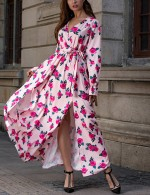 Maiden Pink Puff Sleeve High Slit Waist Belt Maxi Dress