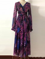 Women's Chiffon Floral Holiday Beach Maxi Dress