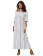 Well-Suited White Maxi Dress Off Shoulder Solid Color For Lover