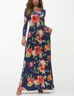 Laid-Back Dark Blue Floral Print Banded Waist Maxi Dress For Streetshots