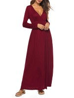 Red Versatile Lapel Midi Dress Slit Long Sleeve For Traveling Supper Fashion