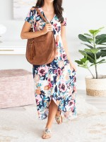Lovely Floral Print Short Sleeve Maxi Dress For Sexy Women