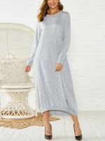 Showy Gray Solid Color Elastic Hem Maxi Dress Fashion Comfort