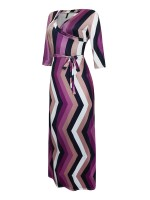 Good-Looking Maxi Dress Waist Tie Large Size V Neck Latest Trends