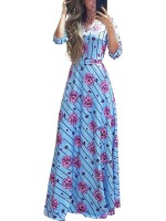 Fantasy 3/4 Sleeves Plus Size Maxi Dress V-neck All-Match Fashion