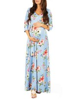 Slimming 3/4 Sleeves Flower Maternity Maxi Dress Newest Fashion