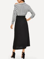 Sophisticated Black Plaid Button Maxi Dress Long Sleeve Seamless