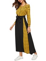 Slim Fit Yellow Plaid Maxi Dress With Waist Belt High Quality