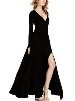Honey Black Long-Sleeved High Slit Maxi Dress Casual Wear