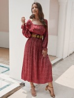 Shimmer Wine Red Square Neck Maxi Dress Side Slit Feminine Curve