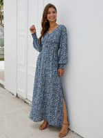 Plain Blue V Neck Slit Maxi Dress Long Sleeves Exotic Girls