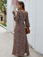 Stretch Wine Red Button Full Sleeve Side Slit Maxi Dress Chic Fashion