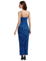 Premium Blue Maxi Dress Square Neck Slender Strap Natural Women Fashion