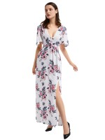 Particularly White Deep V Neck Slit Flower Maxi Dress On-Trend Fashion