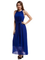 Sparkly Blue Big Size Tie Halter Neck Maxi Dress For Upscale