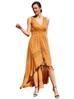 Pretty Yellow Dovetail Hem Button Maxi Dress V-Neck Natural Women Fashion