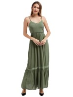 Well-Suited Army Green Lace Trim Maxi Dress Slender Strap