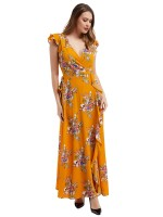 Contouring Sensation Yellow Folar Print V-neck Ruffled Maxi Dress