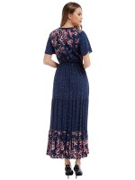 Shimmer Purplish Blue Floral Printing Maxi Dress V Collar Supper Fashion