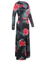 Nicely Floral Printed Plus Size Maxi Dress Elasticity Material