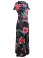 Catching Short-Sleeves Maxi Dress Large Size Comfort Women