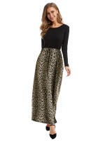 Natural Round Neck Maxi Dress Large Size Modern Fashion