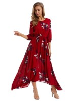 Enthralling Wine Red Floral Print Maxi Dress High Rise