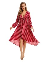Distinctive Red Maxi Dress Stripe Paint Deep-V Women's Fashion