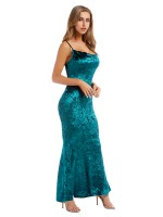 Comfy Green Solid Color Slender Strap Maxi Dress Romance Time