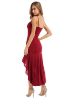 Casually Red Solid Color Maxi Dress Sling New Fashion